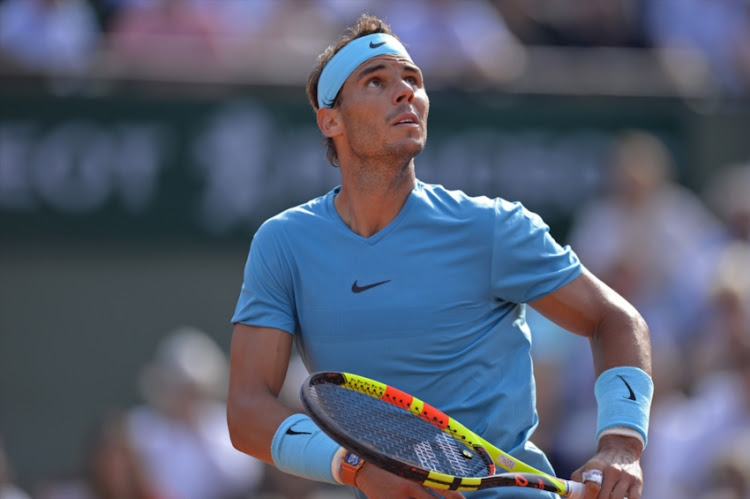 Rafael Nadal of Spain in action during his men's singles semifinal match against Juan Martin Del Potro of Argentina on day 13 of the 2018 French Open at Roland Garros on June 8, 2018 in Paris, France.
