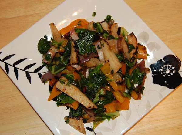 Grilled Collards And Jicama With Sweet Pepper Recipe