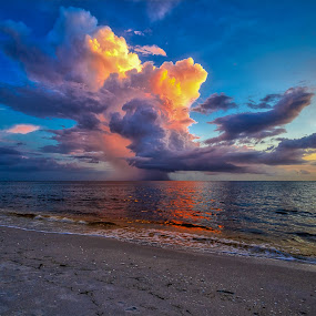 Color Bomb Cloud by Bill Camarota - Landscapes Cloud Formations ( amazing, clouds, colorful, florida, formations, cloudscape, beach )