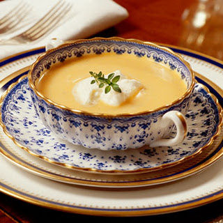 Sweet Potato Soup with Rum Cream.
