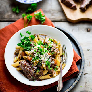 Slow Cooker Beef with Pasta and Porcini Mushrooms.