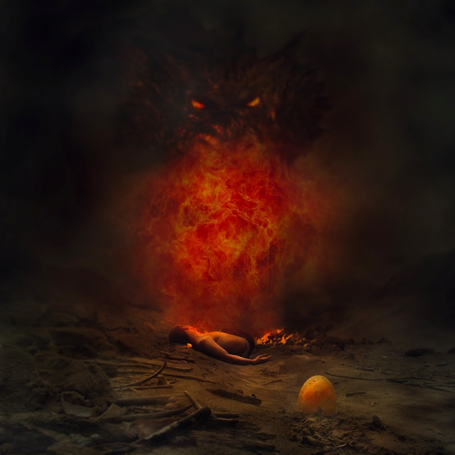Of dreamers and dragons. by Hassnal Sulaiman - Digital Art People ( fantasy, dragons, art, self portrait, egg, fire )