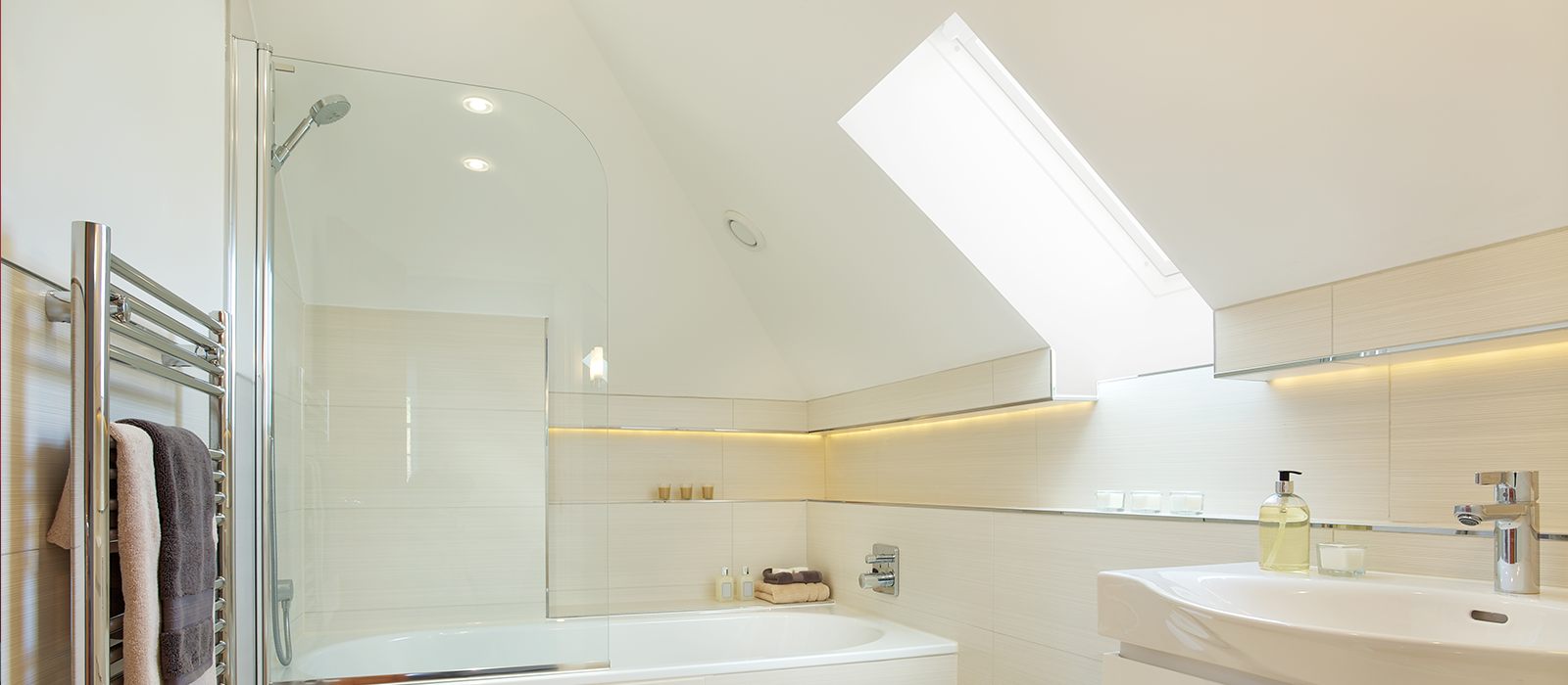 a bathroom that has been converted in a loft