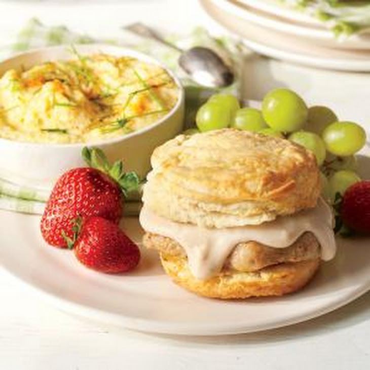 Pork Chop Sandwiches with Gravy and Grits Recipe
