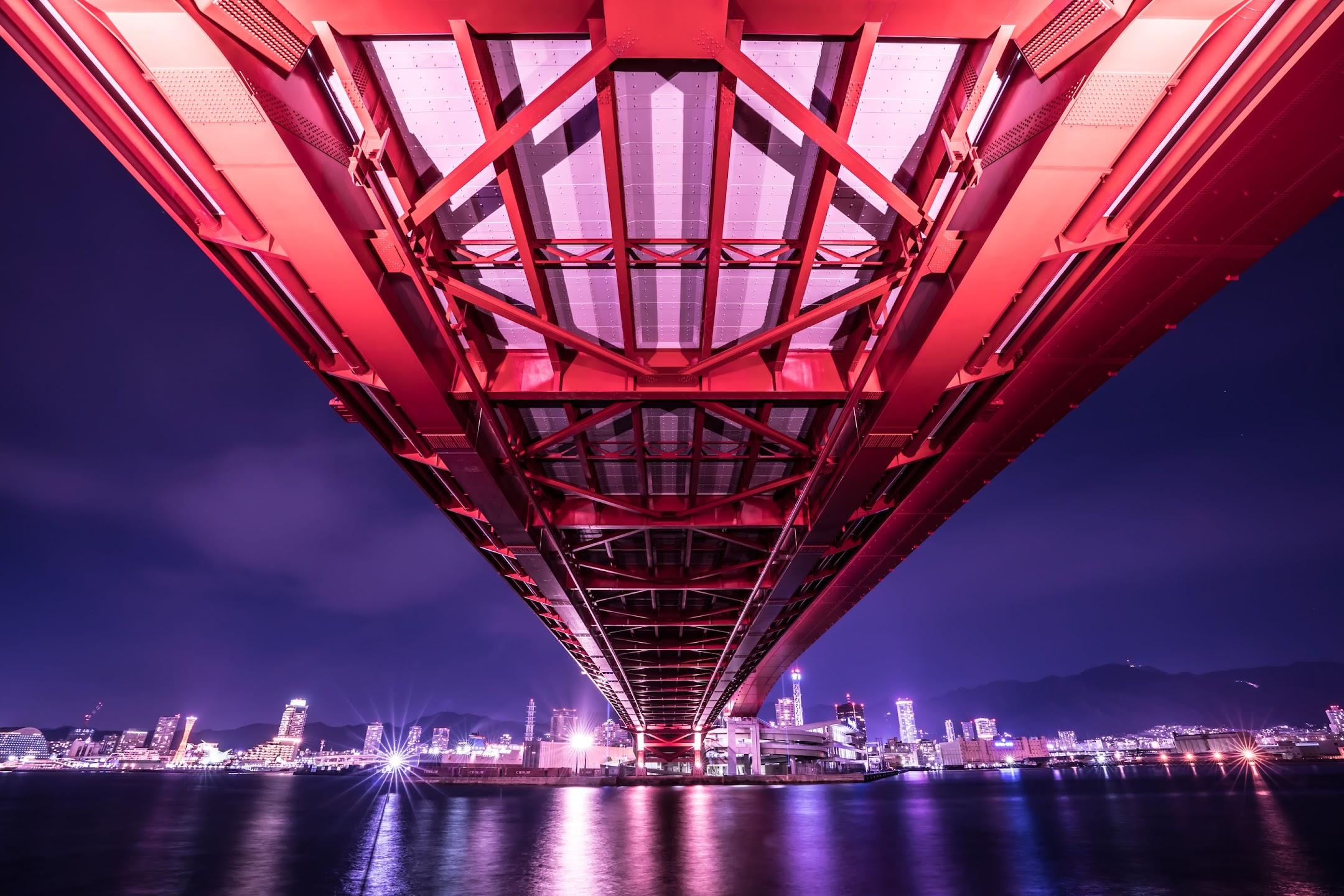 Kobe Great Bridge light-up night1