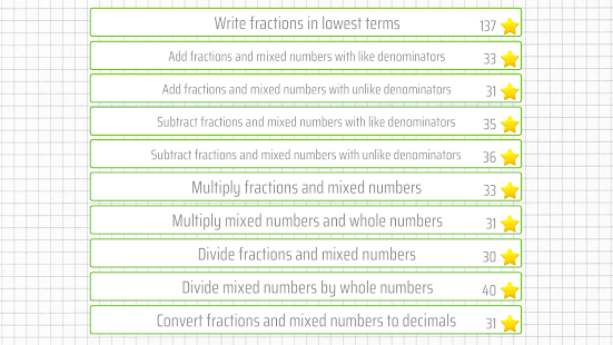 Fractions and mixed numbers - 6th grade math Screenshot