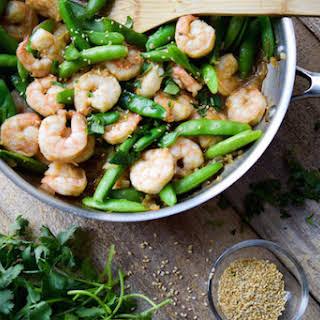 Spring Sesame Shrimp and Sugar Snap Pea Stir-Fry.