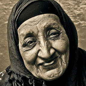 Simplicity  by Ahmed Yousry - People Portraits of Women ( this week's challenge, sepia, faces, old women, people )