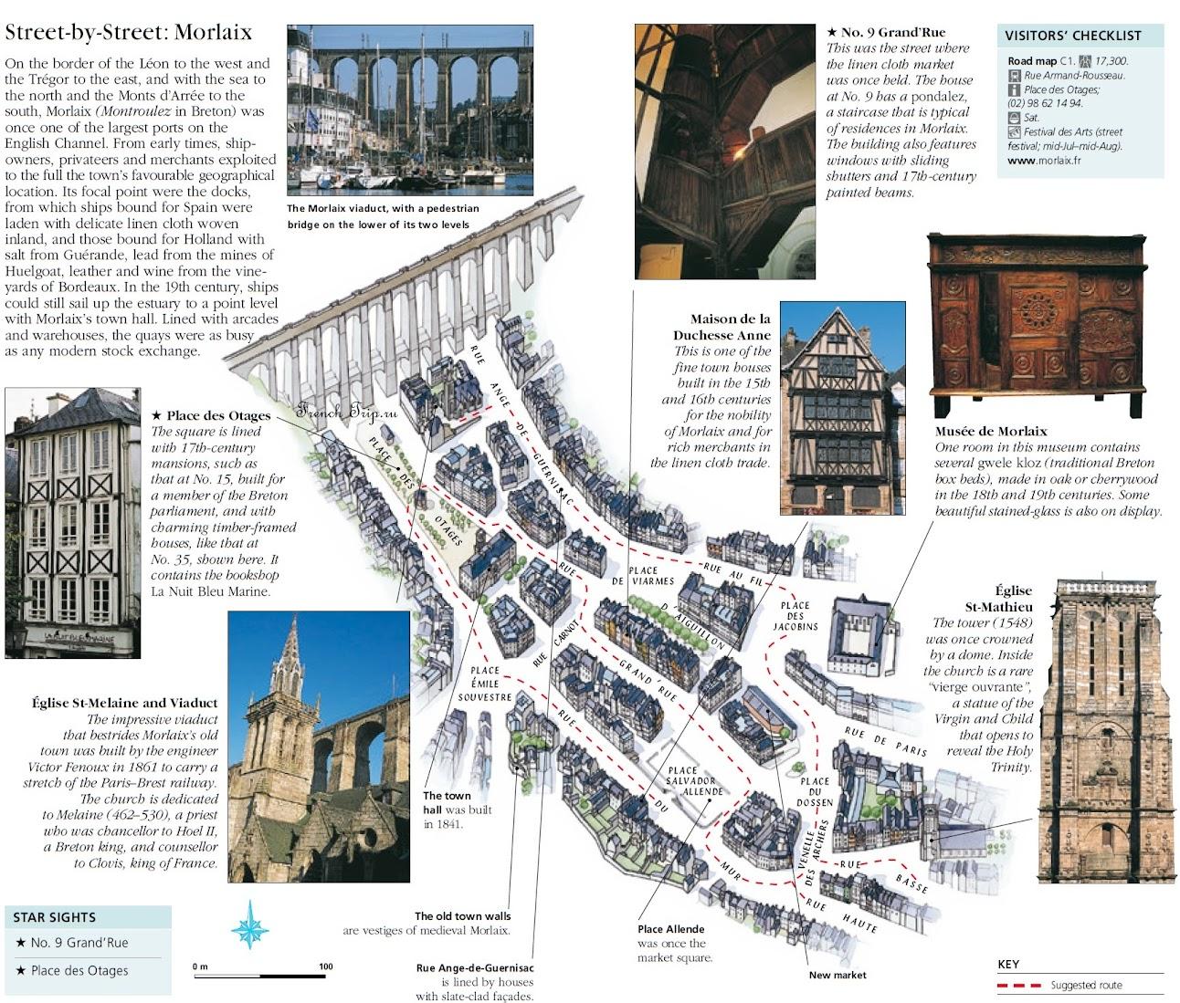 Туристический маршрут по городу Morlaix (Морле) с отмеченными достопримечательностями и описаниями на английском языке