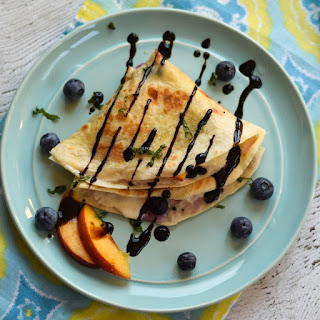 Peach Blueberry Burrata Quesadilla.