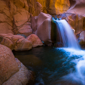 Falling between the walls by Timothy Horng - Landscapes Caves & Formations ( water, desert, salome, waterfall, arizona, canyon, jug,  )