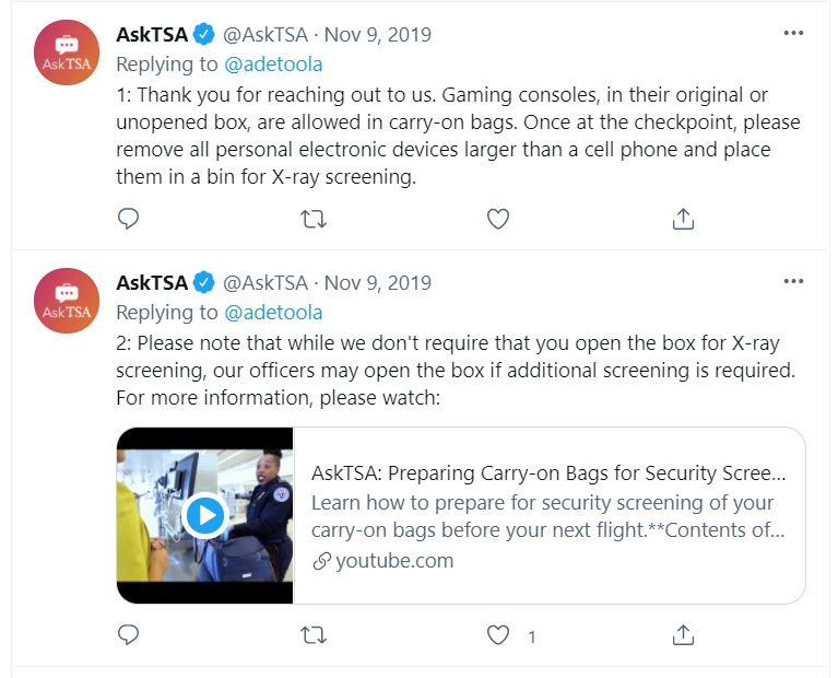 AskTSA Response - unopened gaming consoles are allowed in carry on bags.