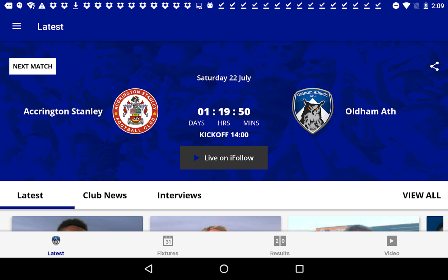Oldham Athletic Official App- screenshot
