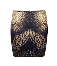 Photo: Paradise Skirt>>  UK> http://bit.ly/Nf98Ya  US> http://bit.ly/QL6ziB  Fitted, all over print mini skirt with a large peacock and pheasant feather motif. Each amber accented design is digitally printed on premium satin stretch fabric which has a soft handle and sheen finish. The Paradise skirt features internal seaming and concealed side zip fastening to create a smooth, streamline silhouette.