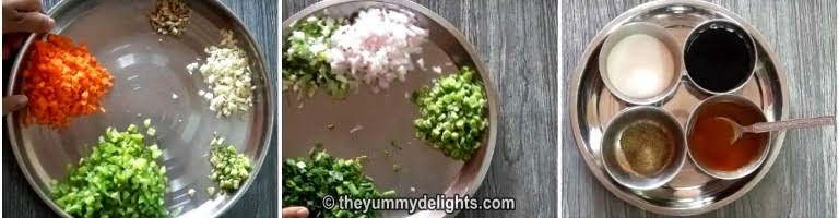chop the vegetables finely and keep the sauces ready for making egg fried rice recipe