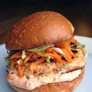 Thai Salmon Burgers with Slaw + Sriracha Mayo