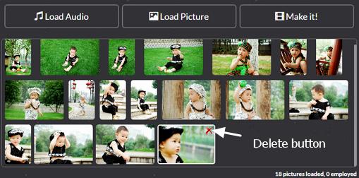 image queue of photo slideshow editor