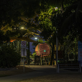 Playground by Night by Ruth Tomlinson - Buildings & Architecture Public & Historical ( night, playground, shadows, lights, fun,  )