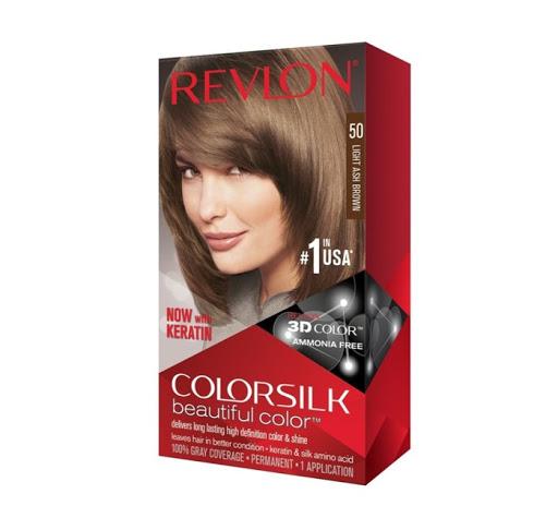 Tinte Revlon Color Silk Castano Cenizo Claro 50 100% cobertura de canas. Brinda un color duradero, natural y brillante dejando el cabello en mejores condiciones que antes de la coloración
