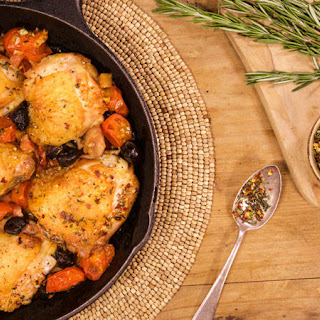 Sara Moulton's Baked Chicken Thighs with Pancetta, Olives and Cherry Tomatoes