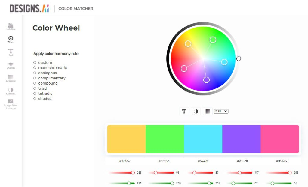 Designs.ai Color Matcher - Free automatic color palette generator.