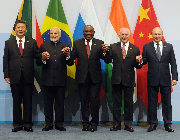 Chinese President Xi Jinping, Indian Prime Minister Narendra Modi, President Cyril Ramaphosa, Brazilian President Michel Temer and Russian President Vladimir Putin pose for a family picture at the 10th Brics summit in Johannesburg, July 26 2018. Picture: SIYABULELA DUDA