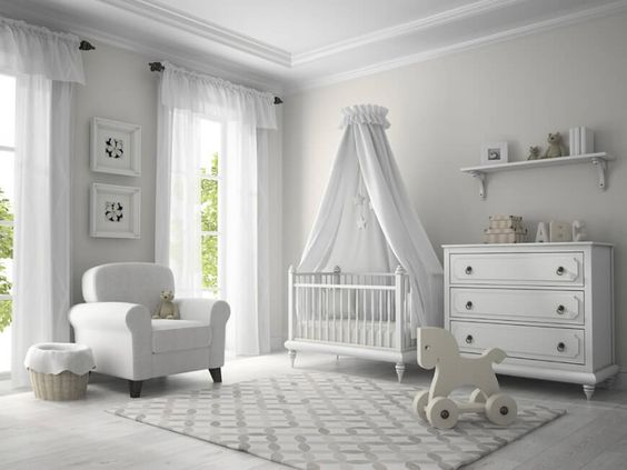 Place a Crib Canopy in White Bedroom for Your Kid