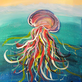 Colorful Jellyfish by Anita Elder - Painting All Painting ( canvas, jellyfish, ocean, painting, acrylic, sea creature )