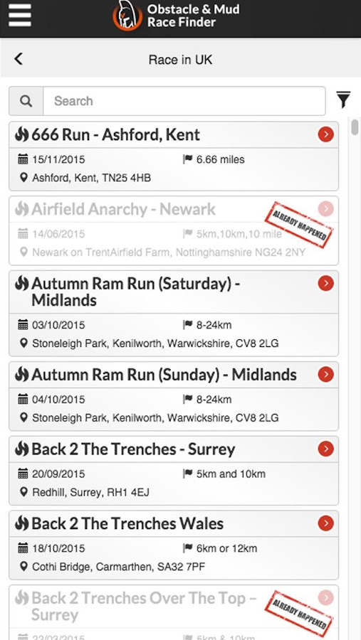 Obstacle & Mud Race Finder- screenshot