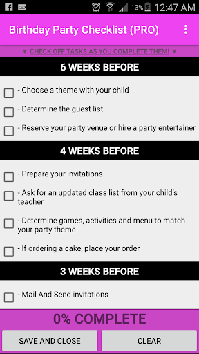 Birthday Party Checklist 1.1 screenshots 1