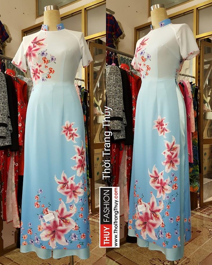 Áo dài ngắn tay vải voan họa tiết hoa vải voan nữ tính V454 Thời Trang Thủy