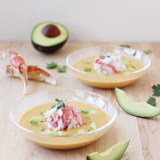 Curried Snow Crab, Corn, and Avocado Chowder.