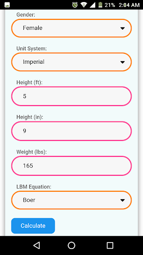 Lean Body Mass Calculator 6.0 screenshots 4