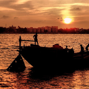 Epar Opar by Jhilam Deb - Transportation Boats ( ganga, kolkata, boats, sunshine, transportation,  )