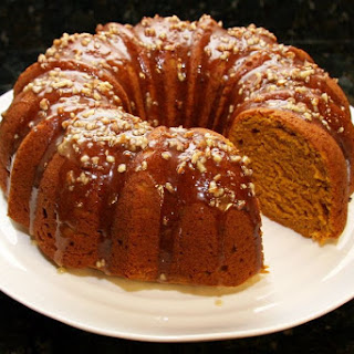 Pumpkin Pound Cake With Maple Pecan Glaze.