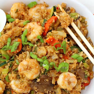 "Quinoa and Cauliflower Low Carb ""Fried Rice"" with Shrimp."