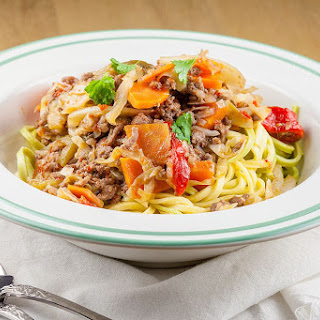 Beefy Roasted Bell Pepper Pasta