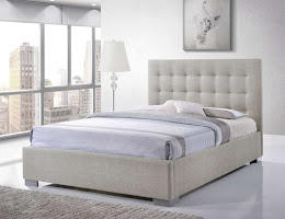 Contemporary Fabric Bedstead  in Sand Fabric on Chrome Feet
