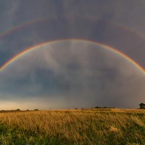 Springtime double by Matt Hollamon - Landscapes Weather ( tokina1116, thunderstorm, nikon, nebraska, rainbow )