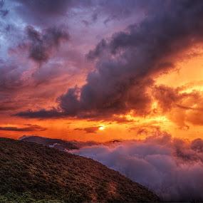 After the storm. by Jeremy Yoho - Landscapes Sunsets & Sunrises ( clouds, mountains, mountain, fog, sunset, vivid, sunrrise )