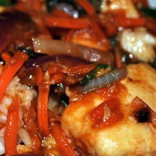 Tilapia Stir Fry With Orange and Ginger Sauce.