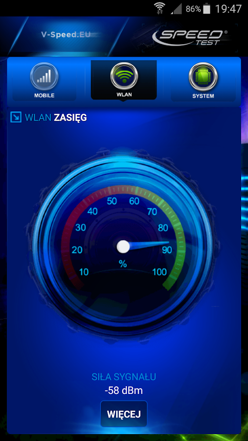 Internet Speed Test – zrzut ekranu