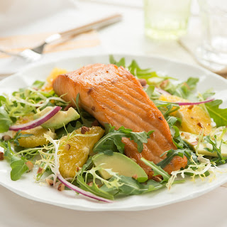 Warm Salmon Avocado Orange Salad.