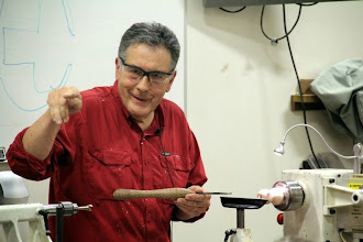 Photo: Reminding us that every demonstration has three errors. And that the lathe malfunction was the first.