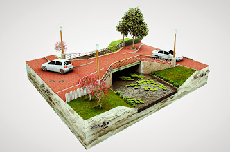Photo: Principedetail bovengrondse met ondergrondse infrastructuur.  Louis van Amerongen Witteveen+Bos Amsterdam