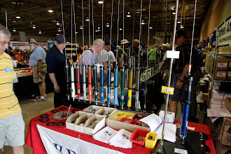 Photo: A wide variety of colors to choose from (to match your vehicle) for your screwdriver antenna at the Tarheel Antennas display.