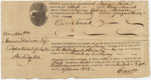Bill of lading signed by James Madison