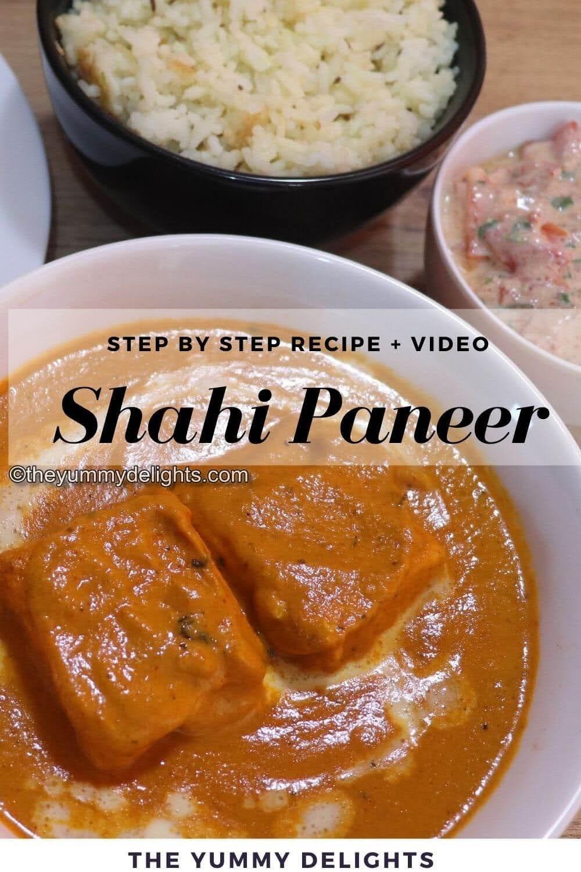 shahi paneer close-up photo. Shahi Paneer is served with cumin rice and raita on the side.