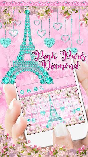 Diamond Eiffel Tower Pink Paris Keyboard  screenshots 1