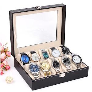 Cutie depozitare 10 ceasuri. Material piele ecologica.
